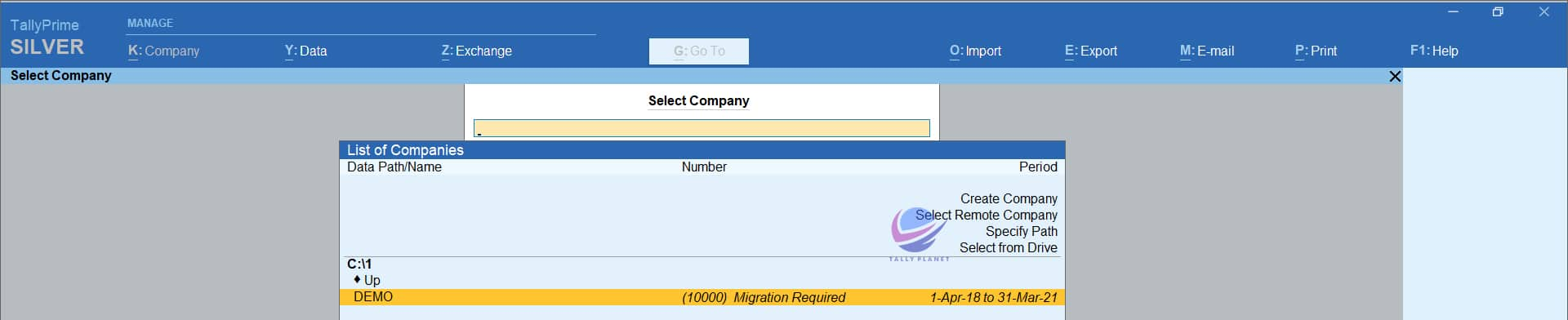 tally-prime-data-migration-first-screen